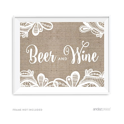 Andaz Press Burlap Lace Print Wedding Collection, Party Signs, Beer & Wine Bar Sign, 8.5x11-inch, 1-Pack ()
