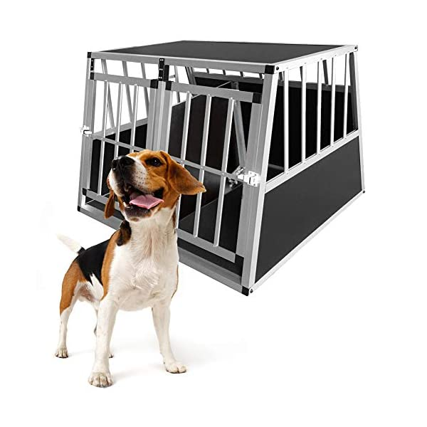 Dog Cage, Aluminum Car Dog Cage Travel Car Crate Puppy Transport Pet Carrier WarmieHomy(104 x 91x 70cm) 5