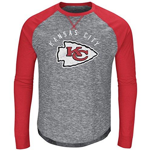 (Kansas City Chiefs Majestic NFL Full Out Blitz Men's Long Sleeve Gray Slub Shirt)