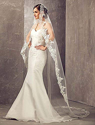 Aukmla Wedding Bridal Veils Beautiful Long Veil with Lace and Metal Comb at the Edge Cathedral Length by Aukmla