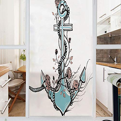 (Decorative Window Film,No Glue Frosted Privacy Film,Stained Glass Door Film,Romantic Boho Design Sketch of an Old Anchor with Roses Black Ink Style Decorative,for Home & Office,23.6In. by 78.7In)
