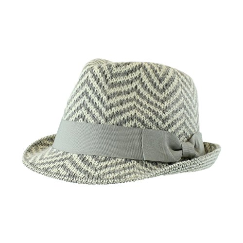 Gray Winter Chevron Wool Blend Fedora, Band and Bow Accent Knit (Accent Wool Blend)