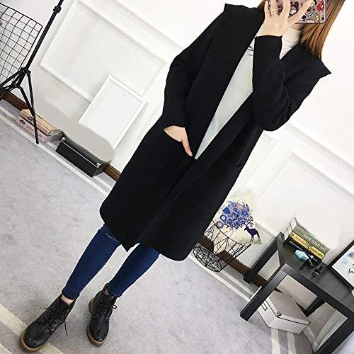 Cappotto Vintage A Cardigan Tasche Outerwear Lunga Festiva Giacca Invernali Maglia Ragazza Donna Eleganti Moda Puro Casuali Colore Chic Con Autunno Manica Nero vdCOqw