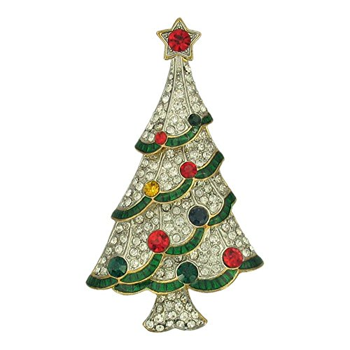 Swarovski Brooch Christmas Tree (Designer Christmas Tree Vintage Inspired Holiday Gift Brooch pin HandCrafted with Genuine milti color Swarovski Crystals P5344)