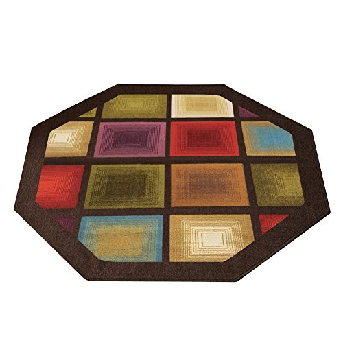 (Colorful Optic Squares Geometric Octagon Area Rug with Skid-Resistant Backing, in Earth-Tone Colors with Chocolate Border 54