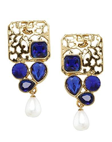 Bindhani Blue Gold Plated Dangle & Drop Earring for Women