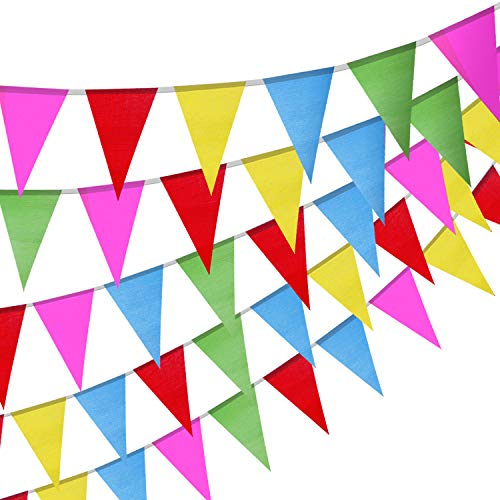 TOPODO 300PCS Multicolor Pennant Flags, Multicolor Pennant Banner Nylon Fabric Decorations for Grand Opening, Party Celebrations and Shops (375Ft) ]()