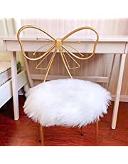 Eanpet Faux Sheepskin Chair Pad Round Cover Seat Cushion Pad Soft Fluffy Area Rug for Area Rugs for Chair Seat Pad Couch Pad Area Natural Rugs White 1.5x1.5FT
