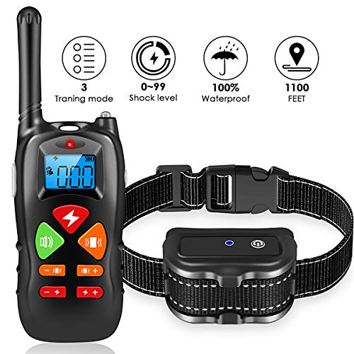PETBROO Shock Collar for Dogs - Waterproof Dog Training Collar with Remote 1100 Ft Rechargeable Shocking Collar with Reflective Double Bands Nylon, Beep/Vibration/Shock Electric Collar Dogs