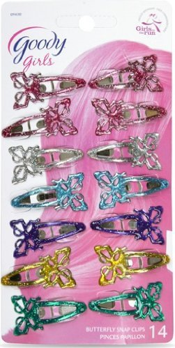 Goody - Butterfly Contour Clips for Girls (Assorted Colors) (Styles May Vary) (2 Packs of 14 Count) (Counter Hair Clips)