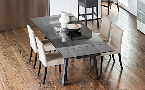 """Exquisite """"Maestro"""" smoke grey glass, graphite legs extending dining table by Calligaris. Italian design."""