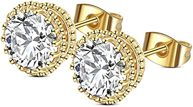 14K Solid Yellow Gold Round Halo 8mm Cubic Zirconia Stud Earrings USA Seller