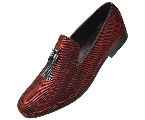 Amali Men's Metallic Slip On Smoking Slippers in Paisley and Striped Designs Styles Shane, Erin Red/Black