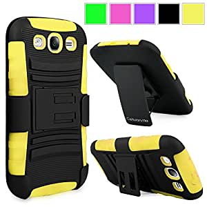 Cellularvilla For Samsung Galaxy Grand GT-I9080 GT-I9082 Duos Yellow Black Hard Soft Dual Layer Holster Case KickStand with Locking Belt Swivel Clip Cover Protector (Yellow Black)