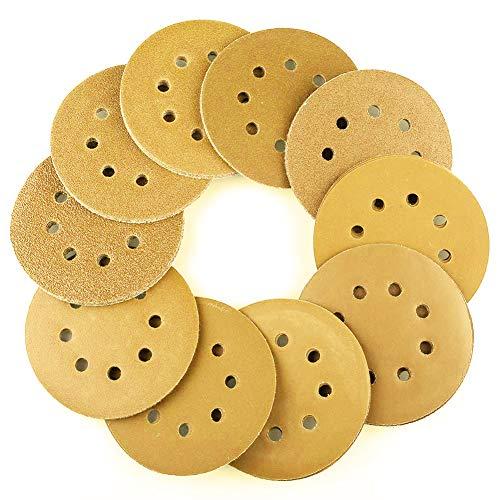 AUSTOR 50 Pcs Gold Sanding Discs 5 Inch 8 Holes Dustless Hook and Loop 60/80/ 100/120/150/180/240/320/400/800 Grit Assortment for Random Orbital Sander