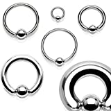 Captive Bead Ring 10G 12G Surgical Steel Spring Action 316L Inspiration Dezigns