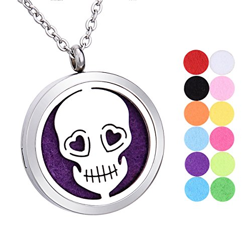 "Price comparison product image Skull Head Aromatherapy Essential Oil Diffuser Necklace Stainless Steel Round Locket Pendant 24"" Chain,12 Refill Pads"