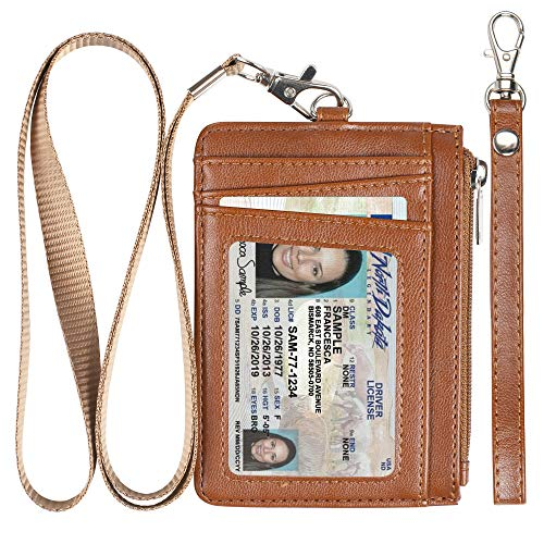 (Badge Holder with Zipper, Premium Leather Slim Wallet RFID Credit Card Holder with 8 Card Slots for Man and)