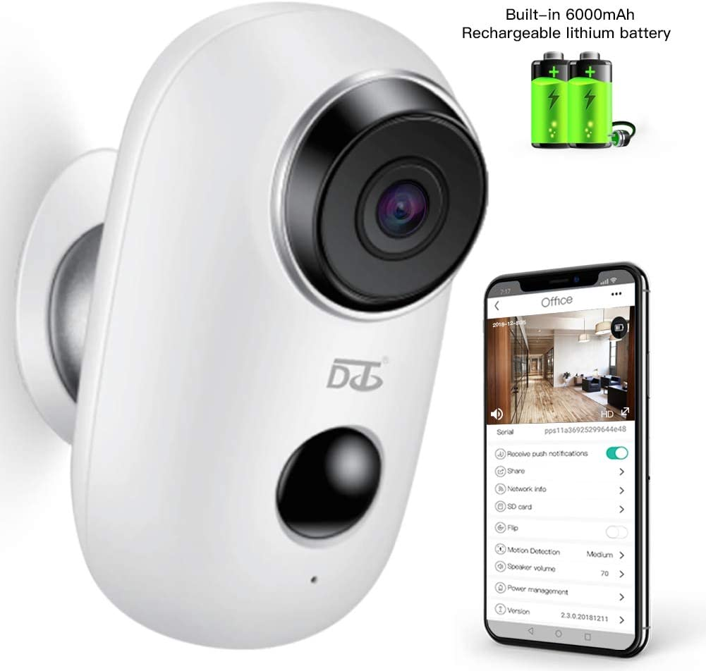 Wireless Security Camera,WiFi Camera Battery Operated with Two-Way Audio,IR Night Vision,PIR Motion Sensor SD Card Socket,Surveillance Camera Indoor Outdoor Baby Pet 1080P