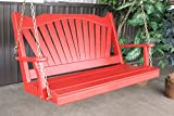 BEST FRONT PORCH SWING, Hanging 2 Person Swings, Designer Patio Porches Stylish Living, USA Amish Made Outside Furniture, Solid Wood Fanback Swinging Bench, 9 Fun Colors - 4ft Red