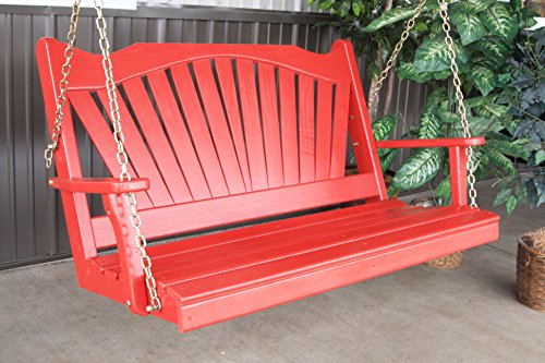 BEST PORCH SWING, Fanback Designer Patio Porches 2 Person Swings for Those Who Love Stylish Living, USA Amish Made Outdoor Furniture, Wood Swinging Bench Making Memories, 9 Fun Colors - 4ft Red - Amish Bench