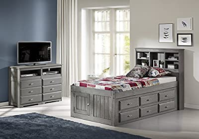 Discovery World Furniture Charcoal Twin Bookcase Bed with 12 Drawers