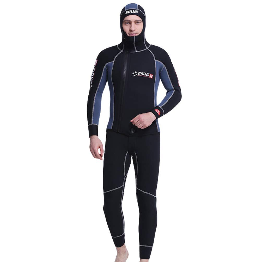 YuanDian 5mm Neoprene Muta da Sub con Cappuccio Uomo Inverno 2 Pezzi Addensare Subacquea Tuta Gilet E Giacca Imposta Fodera in Velluto Snorkel Abbigliamento da Sub