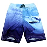 Boys Swimming Trunk Cartoon Shark Breathable Polyester Quick Dry Swim Shorts Mesh Lined Loose Boxer Briefs 9-10T Blue