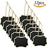 Alyan&Jammsy 12pcs Hanging Wooden Chalkboard Tags, Beverage Lables, Basket Tags for Parties, Weddings, Daily Use.