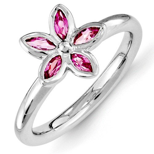 Sterling Silver Stackable Expressions Created Pink Sapphire Ring size 4.75