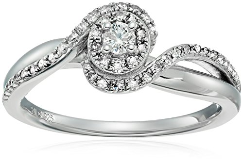 Sterling Silver Diamond Oval Halo Engagement Ring (1/3ctt...