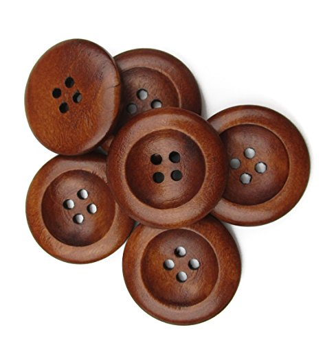 ALL in ONE 50pcs 4 Holes Round Wood Sewing Buttons with Wide Edge 25mm(1