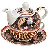 Tea for one Set 3-teilig Porzellan Teekanne mit Tasse und Untertasse in Geschenkbox Paisley Motiv (Braun)