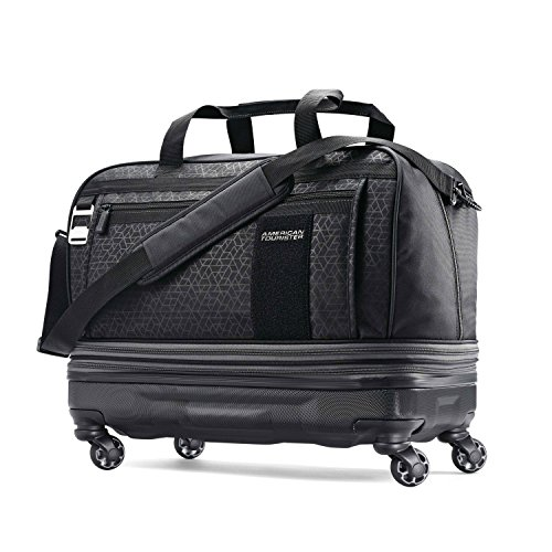 American Tourister Pearce Hybrid Expandable Wheeled Duffel, Black Print (Expandable Luggage Rolling)