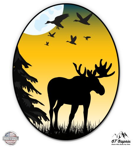 Wildlife Graphic - Moose Shape Nature Scene - 20
