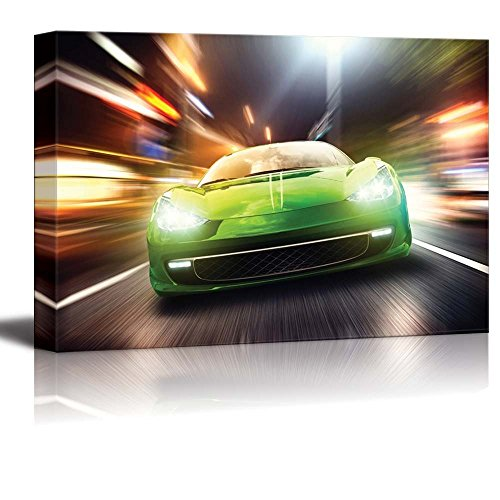 Canvas Prints Wall Art - Night Race/Green Racing Car | Modern Wall Decor/Home Decor Stretched Gallery Wraps Giclee Print & Wood Framed. Ready to Hang - 24