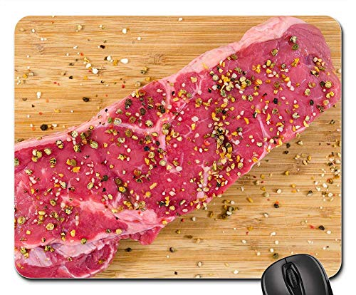Mouse Pads - Meat Wood Beef Steak Food Barbecue Pepper ()