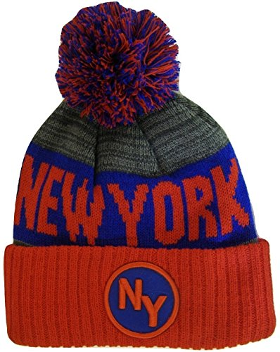 New York Giants Pom Hat. BVE Sports Novelties New York NY Patch Ribbed Cuff  Knit ... 1bc175eff