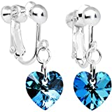 Body Candy Handcrafted Silver Plated Blue Heart Clip On Earrings Created with Swarovski Crystals