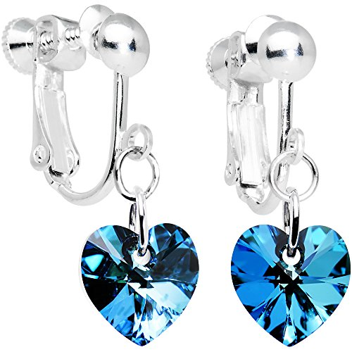 Crystal Dangle Clip Earrings (Body Candy Handcrafted Silver Plated Blue Heart Clip On Earrings Created with Swarovski Crystals)