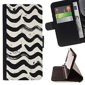 Momo Phone Case / Flip Funda de Cuero Case Cover - Ondas Modelo blanco Negro Acuarela - Samsung Galaxy Note 5 5th N9200