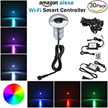 WiFi Smart Low Voltage Recessed Lighting, FVTLED 30pcs Driveway Paver Lights Outdoor Security Lights RGB Compatiable with Alexa Google Home IFTTT
