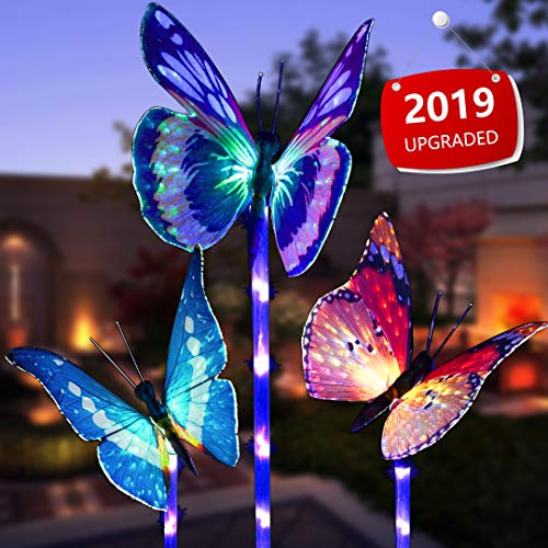 Garden Solar Lights Outdoor, 3 Pack Solar Stake Lights Multi-Color Changing LED Butterfly, Fiber Optic Butterfly Decorative Lights with a Purple LED Light Stake (Outdoor Solar Garden Stake Lights)]()
