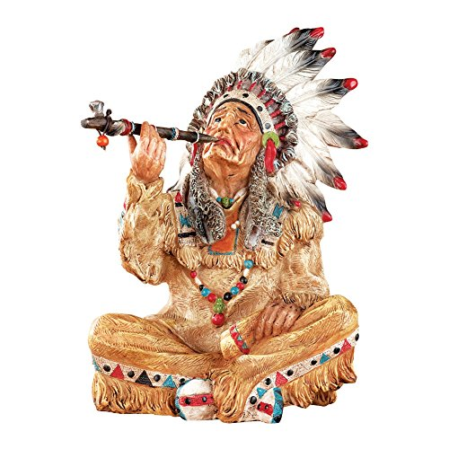 Sitting Hand-Painted Native American Indian Statue - Indian Pipe Sitting Chief