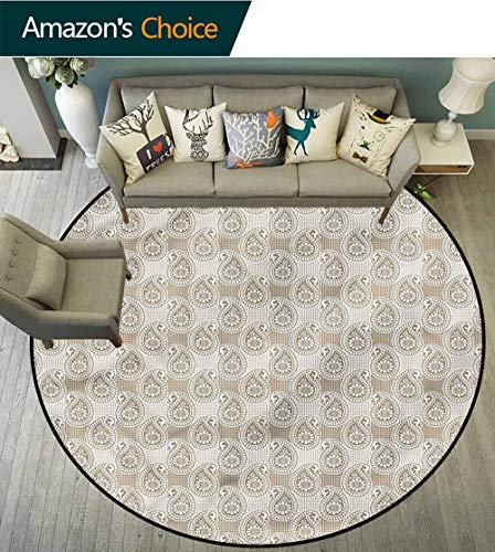 Paisley Round Area Rug,Abstract Geometric Buds Non-Slip Living Room Soft Floor Mat Round-63