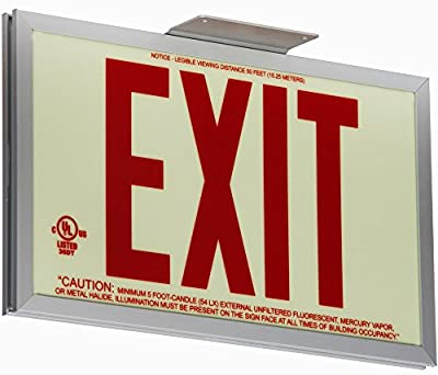 "Jessup Glo Brite 7210-SAF-B P50 Non Electrical, Glow-in-the-dark (Photoluminescent) Screen-Printed Eco Exit Sign, Single-Sided with Aluminum Frame and Bracket, 7.5"" by 13"", Red"