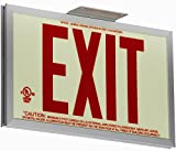 Jessup Glo Brite 7210-SAF-B P50 Non Electrical, Glow-in-The-Dark (Photoluminescent) Screen-Printed Eco Exit Sign, Single-Sided with Aluminum Frame and Bracket, 7.5'' by 13'', Red
