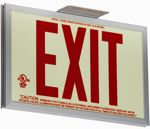 (Jessup Glo Brite 7210-SAF-B P50 Non Electrical, Glow-in-The-Dark (Photoluminescent) Screen-Printed Eco Exit Sign, Single-Sided with Aluminum Frame and Bracket, 7.5