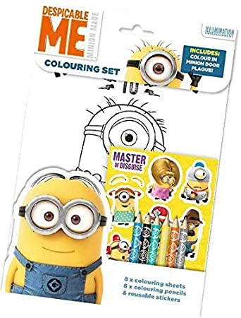Children/'s Activity Stickers Party Gift Despicable Me Minions Colouring Set
