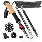 trek carbon - Cruzyo SPRING SALE ! Trekking Hiking Pole Collapsible 3K Carbon Fiber & 7075 Aluminum | Ultralight Folding Walking Stick With Natural Cork Grip & Quick-Lock | Best For Women Or Kids - 1 (one) Pole by